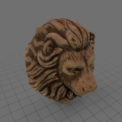 Wooden lion head statue