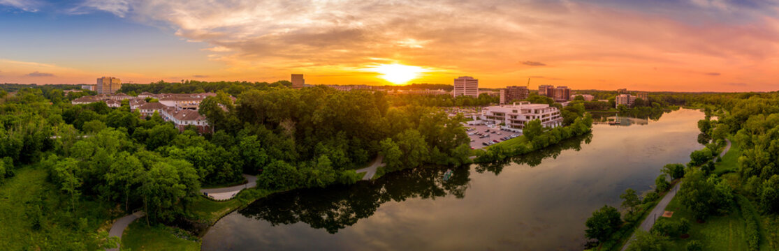 Aerial sunset panorama of Columbia Town Center in Maryland new Washington DC with office buildings and the Columbia Mall