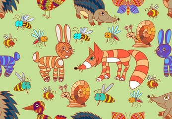 Cute forest animals. Elements of wild animals. Seamless.