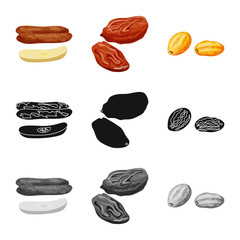 Fototapete - Isolated object of food and raw icon. Set of food and nature stock vector illustration.