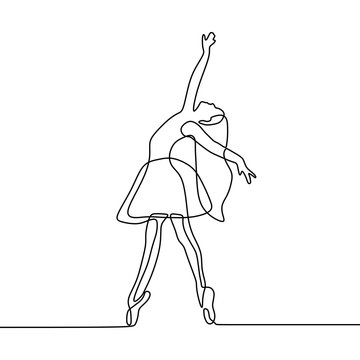 continuous line drawing of girl dancing ballet. Ballerina concept minimalism style