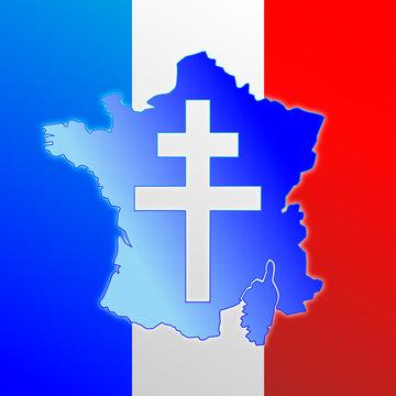 Lorena cross, symbol of France, map and flag, vector illustration