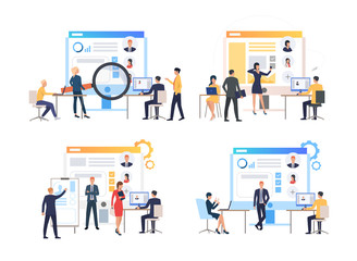 Set of specialists creating websites of companies. Group of programmers adding information about employees of companies. Vector illustration for promo, leaflet, presentation Wall mural