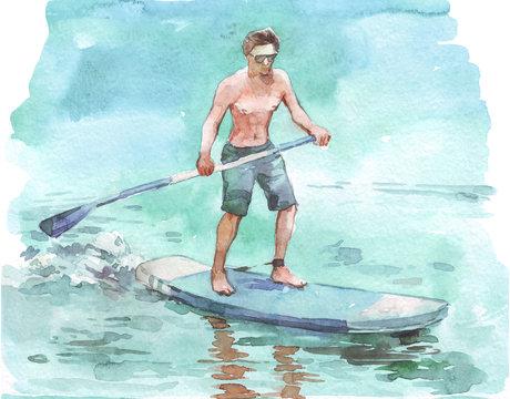 man on supboard watercolor illustration