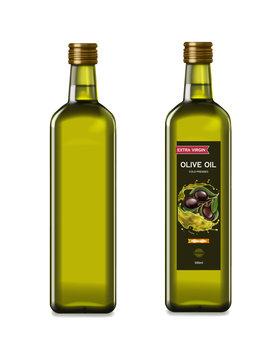 Olive oil glass bottles with olive oil splash. Vector realistic template design