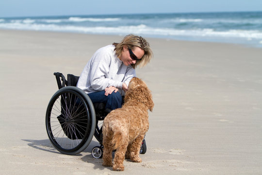 Young Woman in Wheelchair with dog on Beach