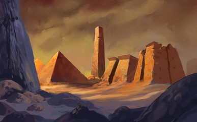 Digital painting of ancient egyptian pyramid architecture in a colorful fantasy art setting - digital landscape illustration