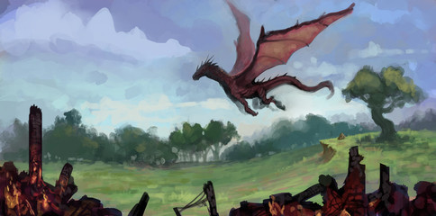 painting of red dragon flying over a lush green field with charred building remains in foreground - digital fantasy illustration