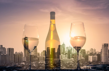 Wall Mural - Wine and beautiful city views