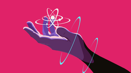 A hand holding a floating atom. Neon rings around the hand. The retro wave in the style of the 80s. Synth wave pink background.