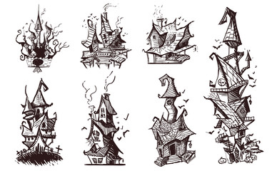 Set of drawn scary evil houses, sketch vector illustration.