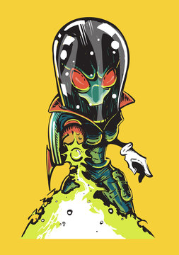 An evil alien invader in a space suit shoots a blaster. An alien in a comic style for prints on t-shirts, posters.