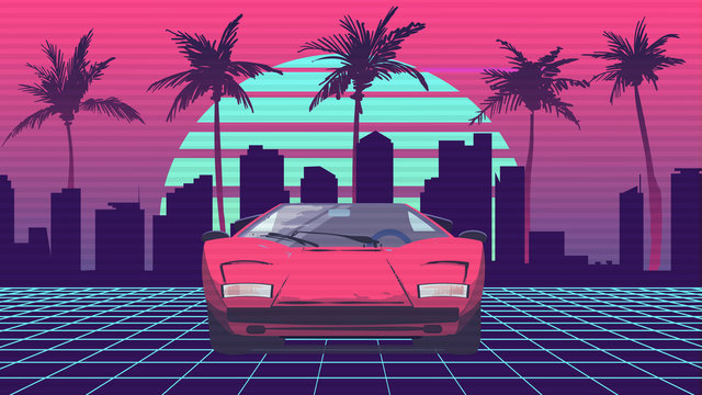 Retro future 80s style sport, supercar on the background of the city and palm trees with blue sun on a striped background. sci-fi night with red sport car on neon grid.
