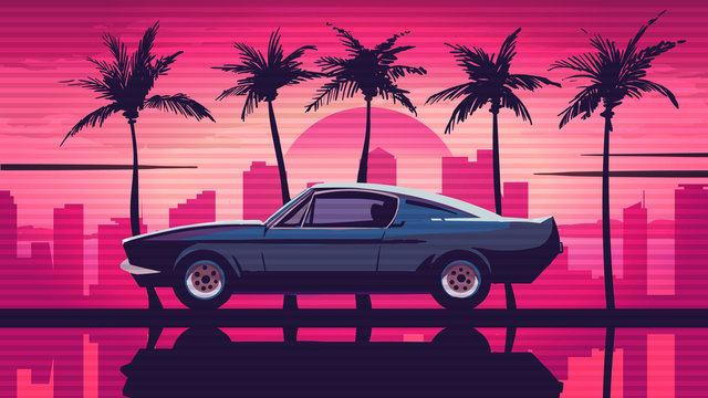 Retro car rides among the palm trees against the backdrop of the sunset in the city. Pink background in the style of retro sythwave 80s.