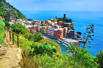 Wall Mural - Colorful Cinque Terre village of Vernazza, Italy. Above view with hiking trail and blue sea.
