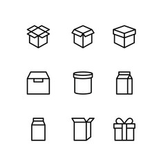 Box icon Line Icons Set .Cardboard packaging boxes