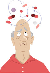 Obraz En elderly man confused by possible interaction between his medications, EPS 8 vector illustration - fototapety do salonu