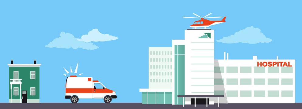 Medical transportation means including an ambulance and medical evacuation helicopter, EPS 8 vector illustration