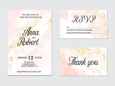 Trendy greeting card set with watercolor liquid flow. Tender ink art with gold glitter foil  splashes. Beauty salon card, wedding invitation, mood board design, vector.