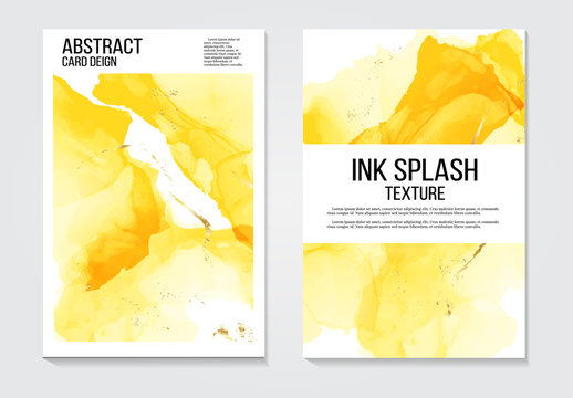 Modern alcohol ink watercolor abstract covers set. Cool yellow gradient shapes composition. Eps10 presentation template vector.