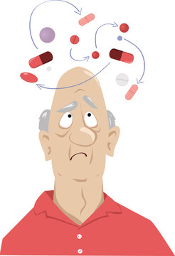 En elderly man confused by possible interaction between his medications, EPS 8 vector illustration