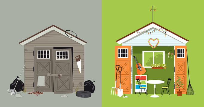 Renovation of a garden shed, before and after picture, EPS 8 vector illustration