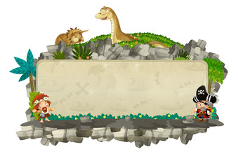 cartoon scene with natural title frame with rocks and plants triceratops and diplodocus on white background illustration for children