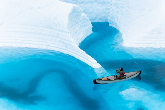 Canyons and ice fins underwater on the Matanuska Glacier in Alaska.