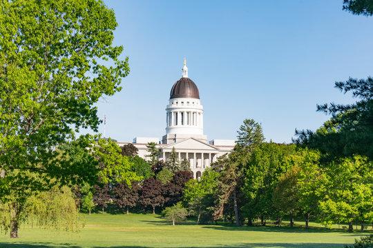 Exterior of the Maine Capitol Building in Augusta, Maine