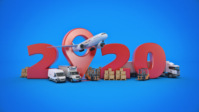 world wide cargo transport concept. 2020 New Year sign. 3d rendering