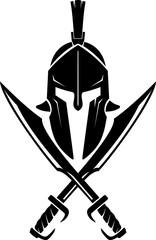 Spartan Greek Helm and Crossed Sword