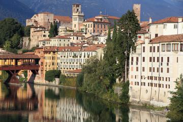 historic centre of Bassano del Grappa on riverside of Italy