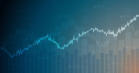 Widescreen abstract financial chart with uptrend line graph and numbers in stock market on blue color background
