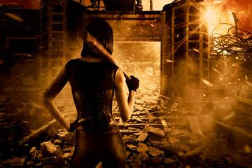 Female assassin in post apocalyptic scene, fantasy digital art