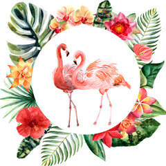 Watercolor couple of pink flamingos with flowers isolated on a white background
