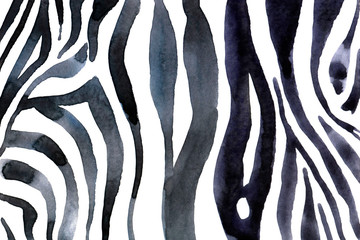 Watercolor animal background with white-black zebra's print