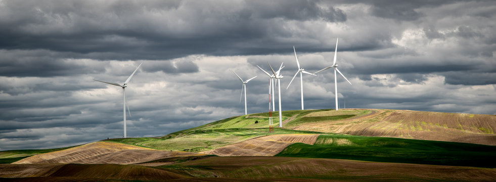 Windmills Cluster on the Hilltops of the Palouse Region of Washington