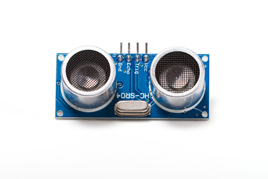 Ultrasonic sensor for Arduino, front view on white background