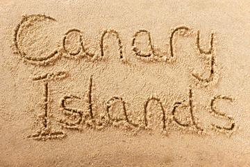 Canary Islands handwritten beach sand message