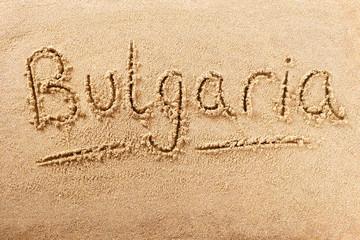 Bulgaria handwritten beach sand message