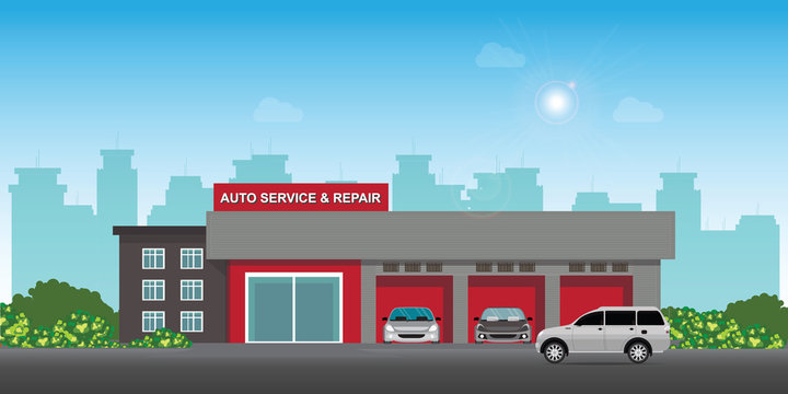 Auto car service and repair center or garage with cars.