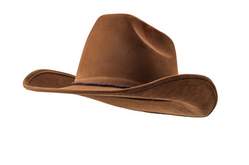 Obraz Rodeo horse rider, wild west culture, Americana and american country music concept theme with a brown leather cowboy hat isolated on white background with clip path cut out - fototapety do salonu