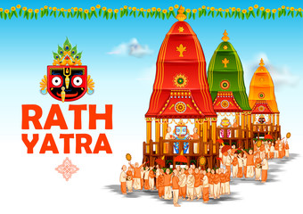 Wall Mural - illustration of Lord Jagannath, Balabhadra and Subhadra on annual Rathayatra in Odisha festival background