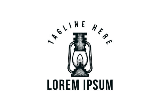 lantern hand drawn, adventure , camping logo