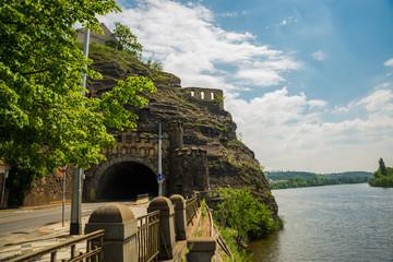 Prague, Czech Republic: Road in rock in Visegrad, Vysehrad, located in Prague 2 district
