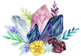 Watercolor Jewery Stone Gemstone Crystal cluster foliage bouquet ornament hand drawn