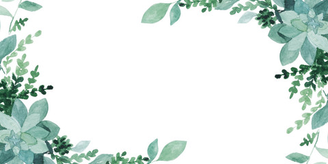 watercolor green leaves  isolated on white. Sketched wreath, floral and herbs garland. Handdrawn watercolour illustration