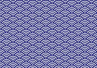 青海波 文様 和風 伝統 紺 背景
