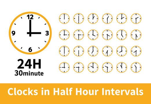 シンプル 時計 24時間 30分刻み 30分毎 12時3時6時9時 黄色