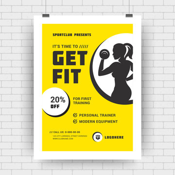 Fitness center flyer modern typographic layout event cover design template A4 size